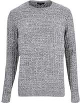 mens grey ribbed sweater - ShopStyle
