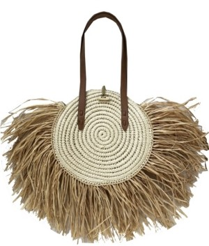 INC International Concepts Inc Melania Straw Fringe Circle Tote, Created for Macy's
