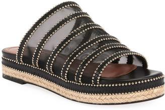 Alaia 40mm Mesh Espadrille Platform Slide Sandals