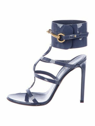 Gucci Horsebit Accent Patent Leather Gladiator Sandals Blue