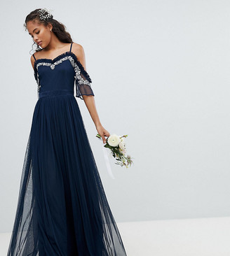 Maya Tall Cold Shoulder Sequin Detail Tulle Maxi Dress With Ruffle Detail-Navy