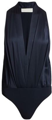 Mason by Michelle Mason Pleated Halter Bodysuit