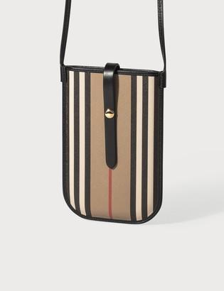 Burberry Icon Stripe E-canvas Phone Case with Strap