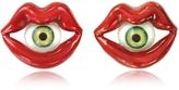 Bernard Delettrez Red Enamel Bronze Mouth Earrings w/Eye