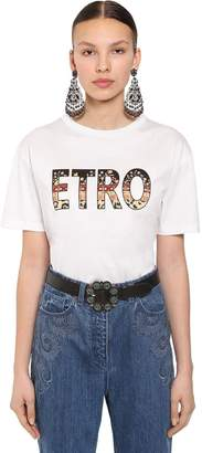 Etro OVER LOGO PRINTED COTTON JERSEY T-SHIRT