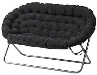 "Ebern Designs Bly Microfiber / Microsuede 56"" Armless Loveseat Upholstery: Black"