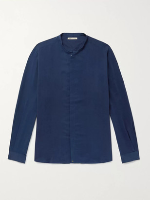 11.11/eleven eleven - Lean Grandad-Collar Silk Shirt - Men - Blue