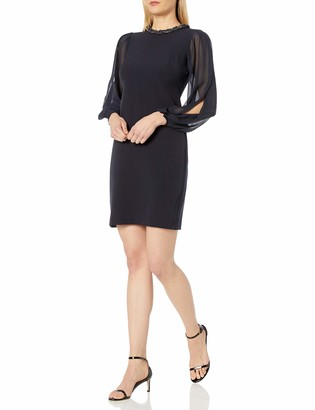 Donna Ricco Women's Long Sleeve Chiffon Sheath Dress with Beaded Necklace