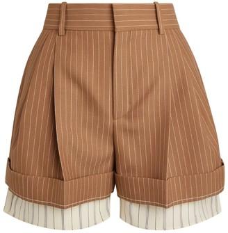 Chloé Wool Pinstripe Tailored Shorts