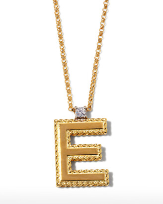 Roberto Coin Princess 18K Yellow Gold Diamond Initial Necklace, E
