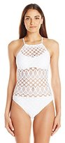 Kenneth Cole Reaction Women's Rainbow Crochet High Neck One Piece Swimsuit