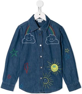 Stella McCartney Kids Weather Motif-Embroidered Denim Shirt