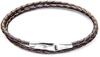 Camilla And Marc ANCHOR & CREW Unisex's Dark Brown Liverpool Silver and Leather Bracelet of Length 21 cm