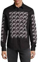 Versace Spread Collar Graphic Shirt