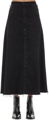 Diesel D-rhita Cotton Denim Midi Skirt