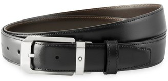Montblanc Rectangular Shiny Stainless Steel Pin Buckle Leather Belt