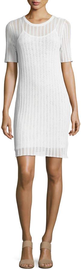 A.L.C. Caspar Short-Sleeve Striped Crochet Dress, White