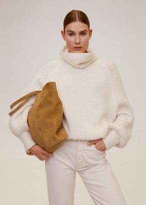 MANGO Leather shopper bag medium brown - One size - Women