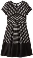 Us Angels Shadow Stripe Knit Short Sleeve Mitered Stripe w/ Belt & Full Skirt (Big Kids)
