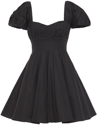 De La Vali Dolores Flared Belted Stretch-cotton Poplin Mini Dress