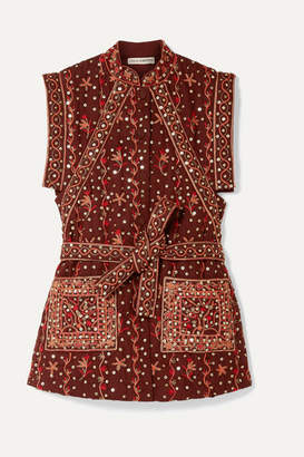 Ulla Johnson Indira Embellished Embroidered Linen And Cotton-blend Vest - Burgundy