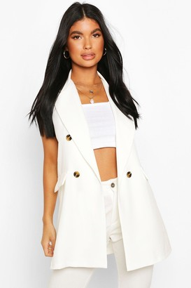 boohoo Petite Double Breasted Sleeveless Blazer