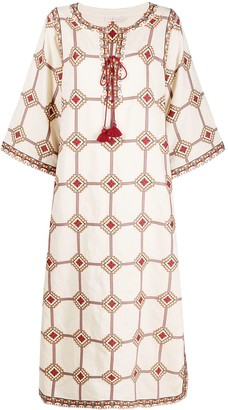 Tory Burch Geometric Print Linen-Blend Dress