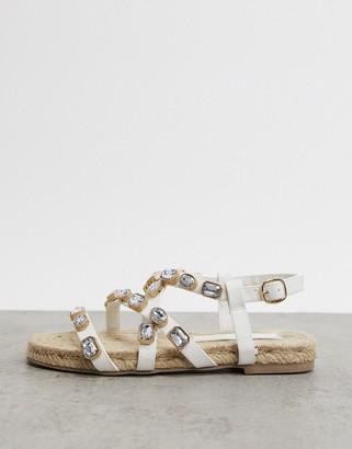 ASOS DESIGN Jemima embellished espadrille flat sandals