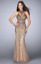 La Femme Gigi GiGi - Alluring Iridescent High Neck Tulle Flared Gown 23911