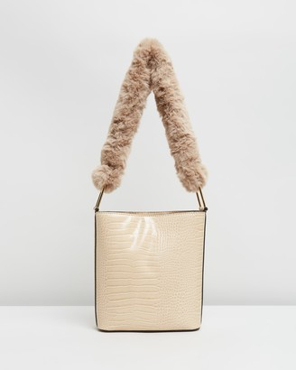 Topshop Women's Neutrals Handbags - Faux Fur Handle Bag - Size One Size at The Iconic