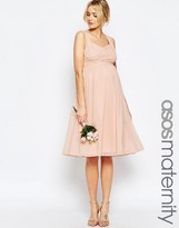 Asos WEDDING Ruched Paneled Midi Dress