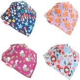 Zippy Fun Baby and Toddler Bandana Bib - Absorbent 100% Cotton Front Drool Bibs with Adjustable Snaps (4 Pack Gift Set) Girls Woodland