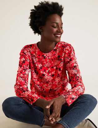 Marks and Spencer Floral Puff Sleeve Blouse