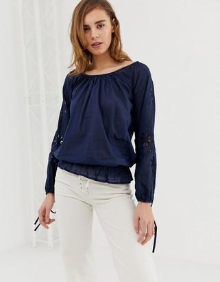 Pepe Jeans Jasmine off shoulder blouse-Navy