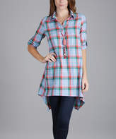 Lily Blue & Coral Plaid Roll-Tab Sleeve Button-Front Tunic - Plus Too