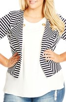 City Chic Plus Size Women's Zip Detail Stripe Ponte Blazer