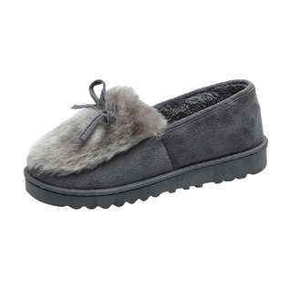 Rabung Womens Comfortable Plush Warm House Shoes Winter Slippers Anti-Slip Sole Indoor Outdoor Shoes for Ladies Girls Ladies' Snug Micro Suede Warm Wool Plush None-Slip House Shoes Gray