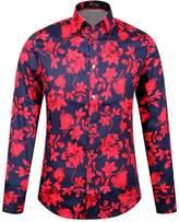 APTRO Men's 100% Cotton Floral Shirt Long Sleeve Flower Shirt Black XXXL
