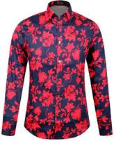 APTRO Men's Cotton Fashion Shirt Luxury Design Long Sleeve Floral Shirt L