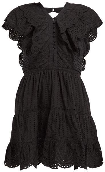 Leila Sir Ruffled Cotton Mini Dress - Womens - Black