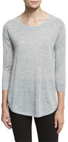 ATM Anthony Thomas Melillo Lightweight Slub-Knit Cashmere Sweater, Heather Gray