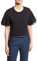 See by Chloe Boxy Cropped Jersey Tee with Embellished Sleeves