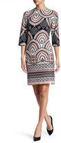 Taylor Scuba Fan Print Shift Dress