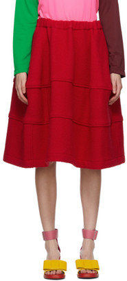 Comme des Garcons Red Wool Felt Mid-Length Skirt