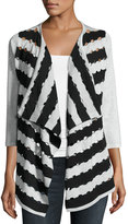 Neiman Marcus Cutout Two-Tone Open-Front Cardigan, Gray/Black
