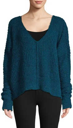Free People Textured V-Neck Sweater