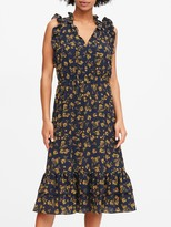 Banana Republic Petite Floral Ruffle Midi Dress