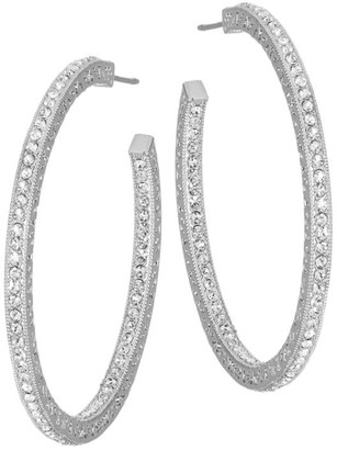 Adriana Orsini Crystal Pave Hoop Earrings/1.5""