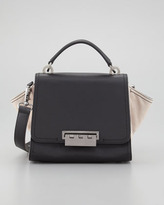 Zac Posen Eartha Small Colorblock Satchel Bag, Black/Luna