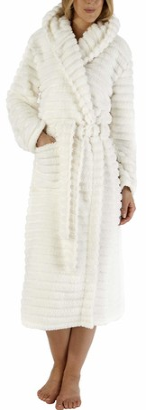 "Slenderella Ladies 46"" / 116cm Soft Cream Fleece Hooded Shawl Collar Dressing Gown Robe Two Patch Pockets Self Tie Belt Large 16 18"
